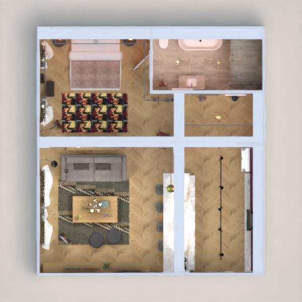 floorplans appartement décoration chambre à coucher cuisine eclairage architecture studio entrée 3d