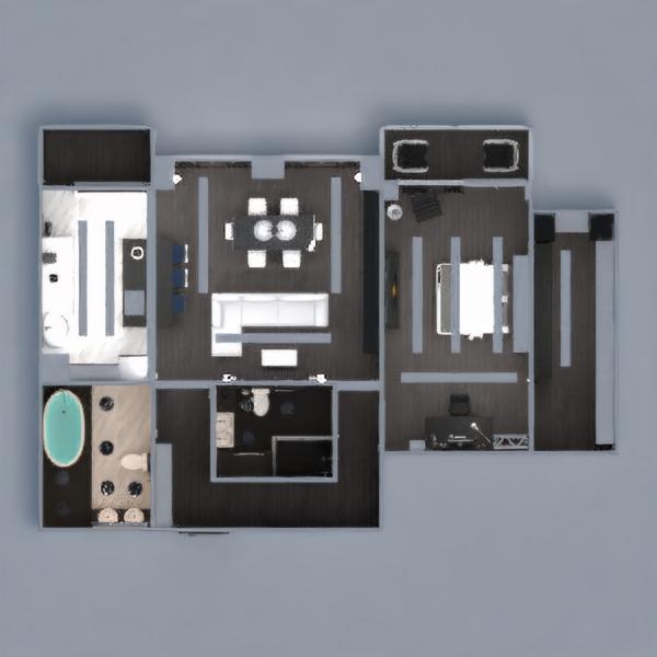 floorplans butas dekoras vonia miegamasis svetainė virtuvė apšvietimas sandėliukas studija prieškambaris 3d