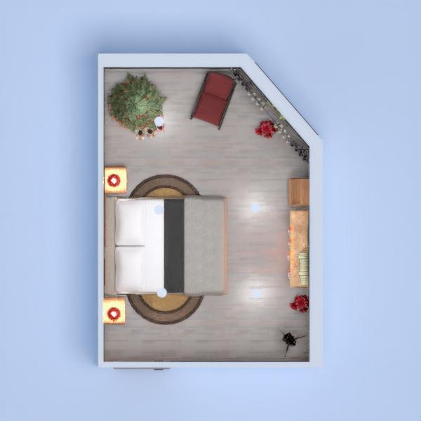 Camera da letto con camino e parquet. Tema natalizio, ambiente caldo e accogliente
