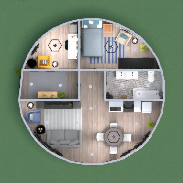 Round house with lots of different shapes. small house that feels large