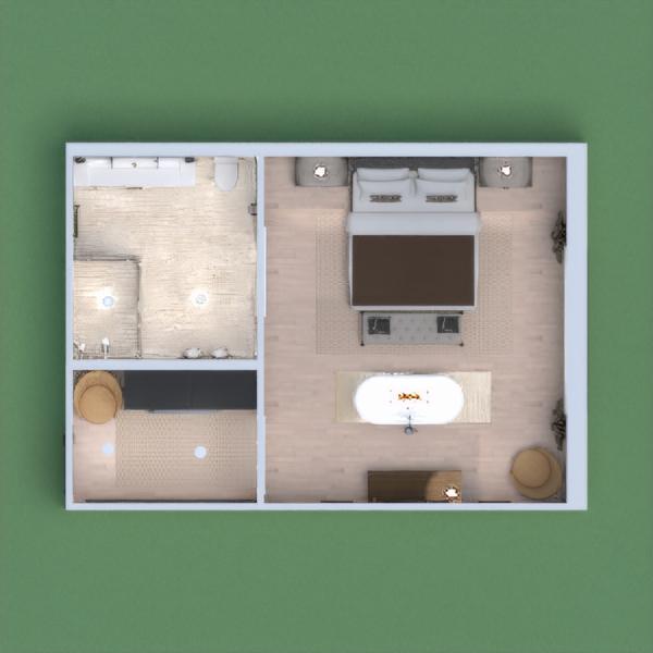 Hotel room, bath in bedroom.