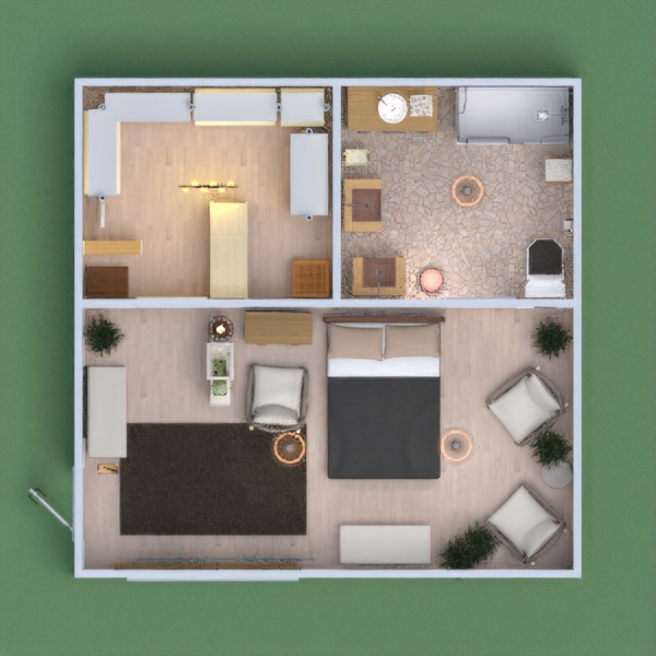 Boho style interior - This planner project contains a big bedroom, a medium-sized wardrobe and bathroom. Minimal but elegant style has been applied.
