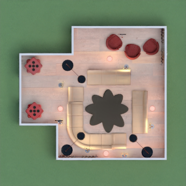 A modern room for board games witch you can play with the lights, play board games & play darts
