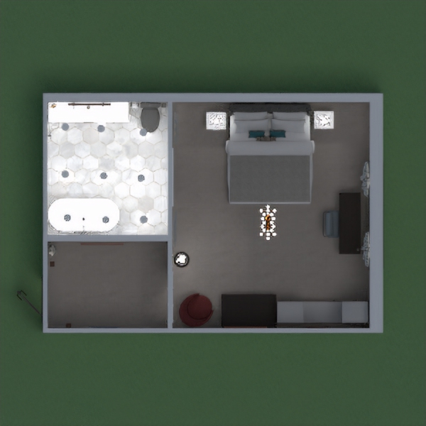 A modern hotel room, with a nice entry way, a comfortable bed for sleeping in, a spacious bathroom, storage space, working space, mirrors and light fixtures to brighten up the room, and nice decorations.