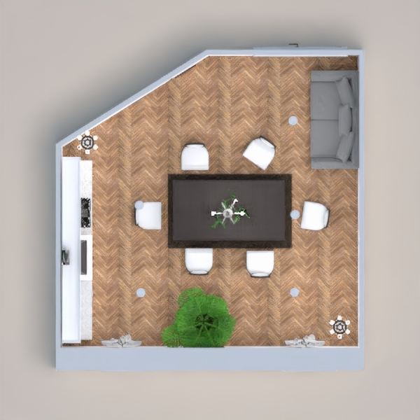 this little room has a kitchen with a dining room and a sofa. also it has a plant. hope you like it :).