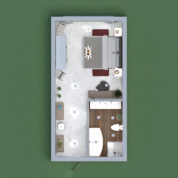Quarto com elementos contemporâneos e clássicos, com cores mais sóbrias. Destaque para o banheiro com acabamento em madeira.