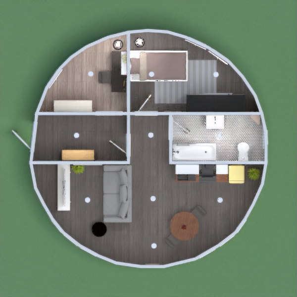 HI EVERYBODY, I'm NOT A PROFESSIONAL DESIGNER BUT I LOVE IT. We have a roundhouse, with a bathroom, an open space, a bedroom and a study room. I wish you will enjoy it. BYE BYE by valem2003 image