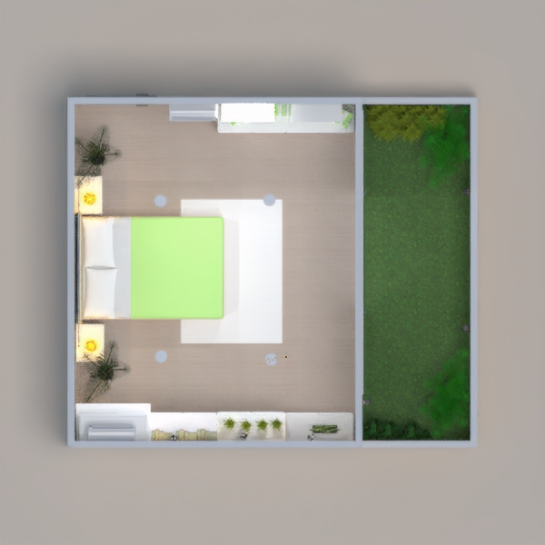 A bedroom with a garden.please vote