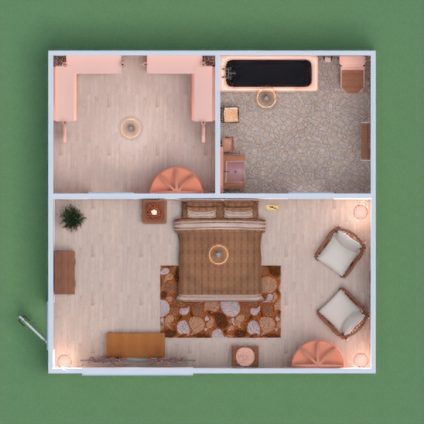 This is my boho style interior. There is a bathroom, walk in closet, and bedroom. In the bedroom there is a bed, two chairs, a shelf, and a bench by the window. The main color is coral. I really hope you like mine! DONT COPY AND PASTE YOUR COMMENTS. PLEASE LEAVE HONEST COMMENTS. I WILL NOT VOTE FOR ANYONE WHO COPY AND PASTES THEIR PROJECTS. May the best project win!