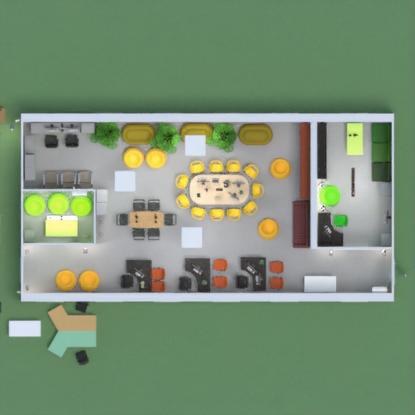 This is a project of an office with two meeting rooms, and a quite big office. The main colours are green, yellow, and black