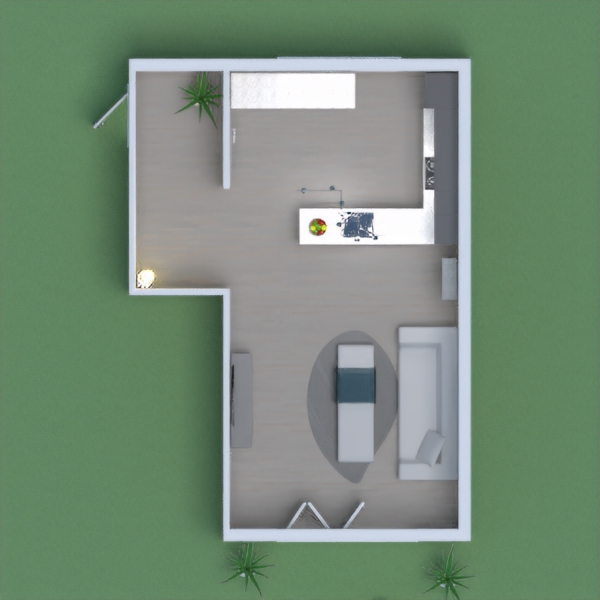 A modern living and kitchen area, the color scheme in my room is grey.  The accent wall is brick, to match the outside walls.  There is also an outdoor area to eat, or to just soak up the sun.  I hope you like my design, and please vote for me! =)