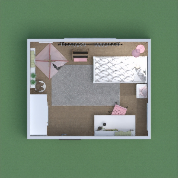 A bedroom for a young girly girl who loves pink, a study area for homework and also shelves filled with books and a place she could read and play.