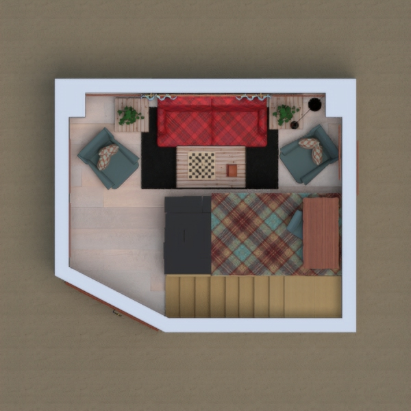 Hi! I'm back with another design. Today I made a house with plaid, purple, black and blue with reddish wood. And today I felt a little bit extra, so I made a second story to be a desk area. And the bottom story is like a calm reading area. Feel free to comment and vote too! I hope you enjoy it! Thank you! -Izzy