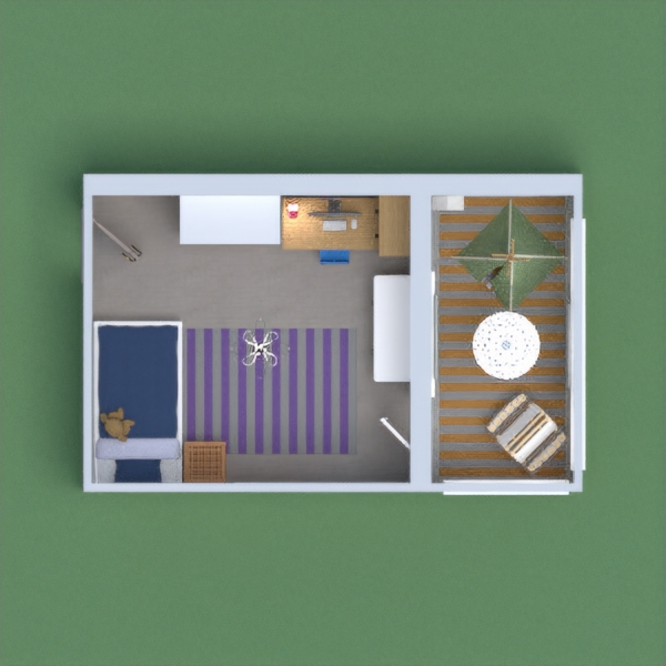 Design a children's bedroom with a balcony