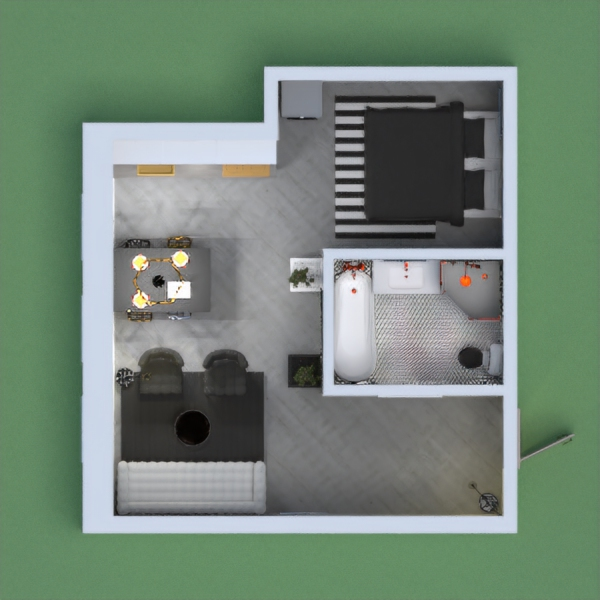 I don't really like this lol My creativity was lacking on this one. Not my best work but it was fun and that's all that matters. So this is a somewhat industrial style small apartment.