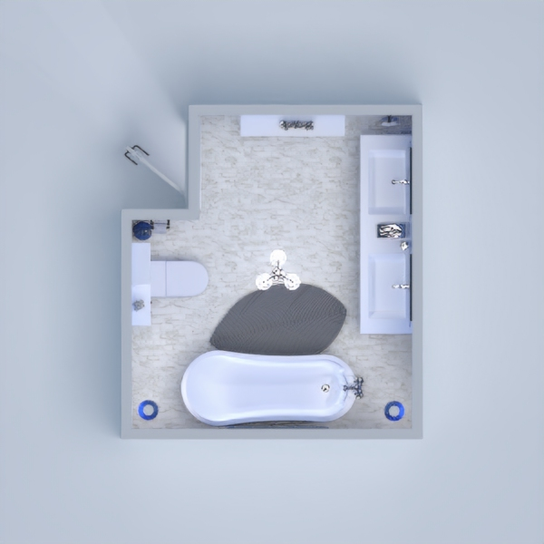 Blue Bathroom. Modern, simple and elegant place to submerge yourself in a stylish bathtub and wash away your stress and worries with relaxing blue light (cool).