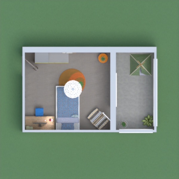 Here is a small child's bedroom, with a place to study, paint and a nice balcony with a tent and some plants for nature tastes, I hope you'll like it!
