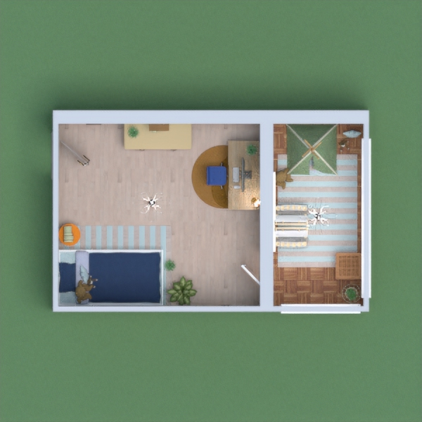 This is a kid's bedroom, with a 'balcony' used as a playroom. The color scheme is more blue and yellow/orange in the actual bedroom and more pastel in the other room. Hope you'll enjoy !!
