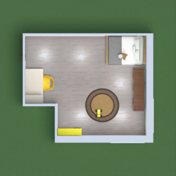 A cool, kids bedroom with gray and yellow and a play area and study area