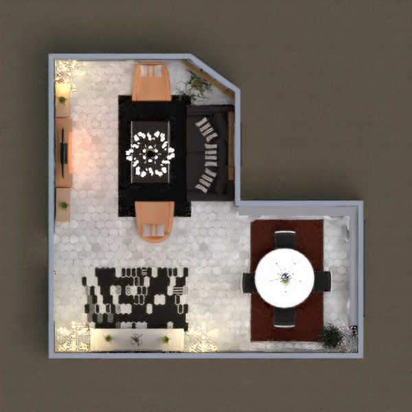 Dining and living room, I used black, white and brown colors. I hope you like it.