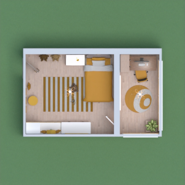 this is my modern bedroom. the color theme is mustard and white, and its for a child around 10 years old. please vote for me and leave a comment. i will vote for whoever votes for me.