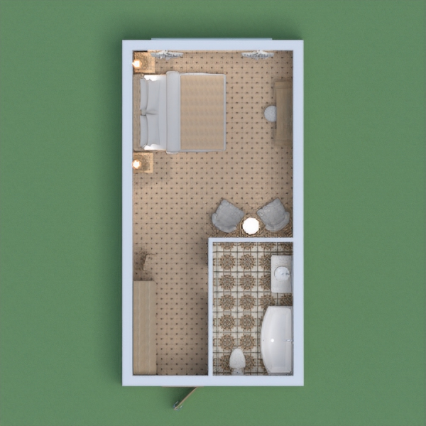 This project in white and beige shades is for a family of two people. There are bathroom, bedroom, storage and recreation area.