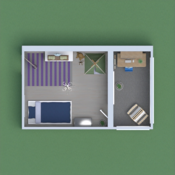 its a one bedroom apartment (kinda) for a single parent with kids or a little baby. If the adult is working from home then the balcony is the best place for them to do so and the kid(s) toddler(s) can paint or play in the office area as their parent works so they can keep an eye on them.