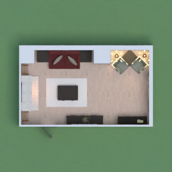 Cozy living room for medium sized family.