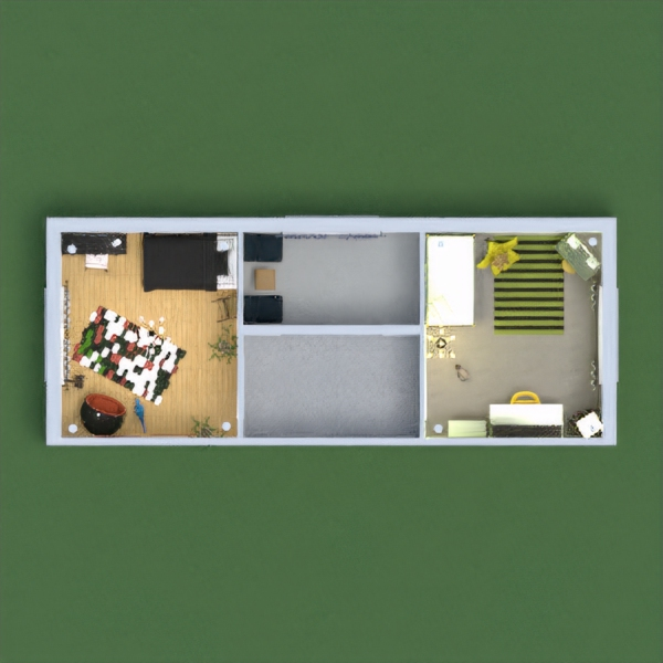 two bedroom with different colors