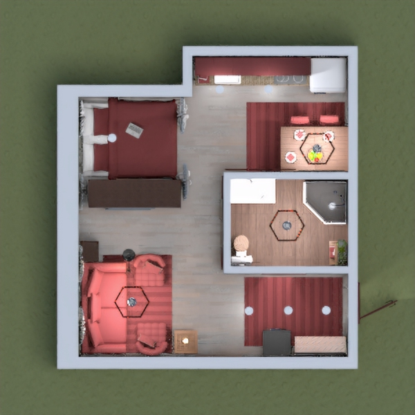 A cozy apartment, done mostly in wood with shades of red, perfect for holing up during a snowstorm or hosting a visiting friend.  Please comment with any suggestions or constructive criticism, and if you leave your room's page number, I'll be sure to check it out.
