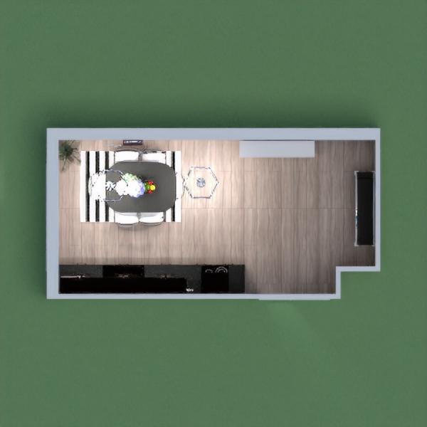 Dark kitchen with dining and storage rack.