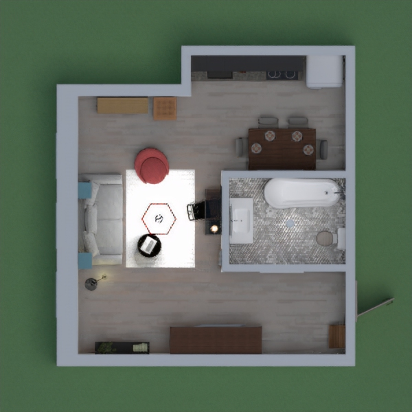 A living room with a kitchen plus a bathroom