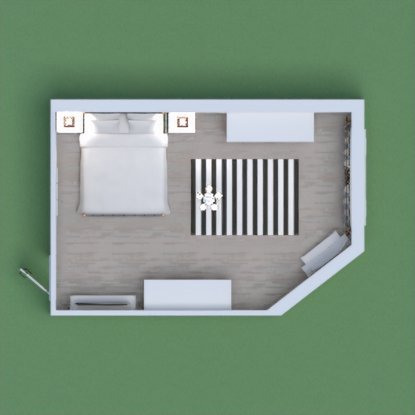 For my project I used the colors of gray and white, because I really like the combination of these two colors. I think the bedroom is very spacious and well organized.