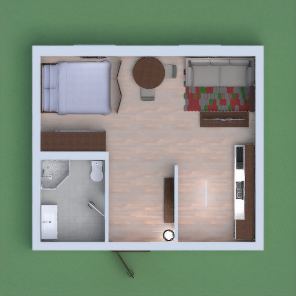 This is my modern, airy apartment. It is open, and quaint.  It is also split into different sections, like the living room, the kitchen, bathroom and bedroom.  I hope you enjoy, and please vote and leave comments! =)