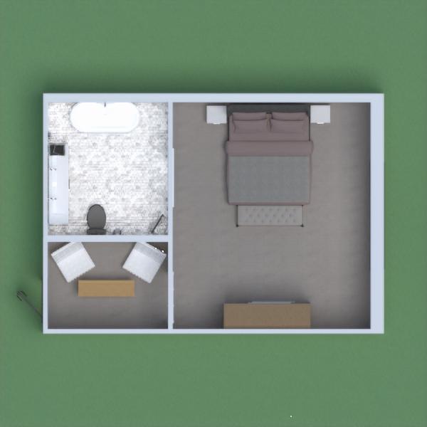 um  quarto, um banheiro e uma pequena sala