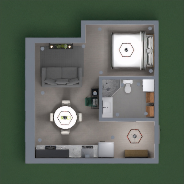 Modern apartement with a bedroom and a kitchen and dining room