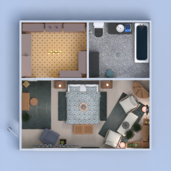 Проект спальни, гардеробной и санузла в стиле Бохо