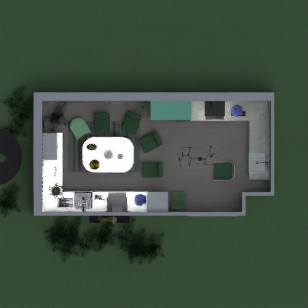 This is a plan of a kitchen, which is based colour of green, silver, brown and dark purple. There are some decorations on this picture, and 6 chairs. Vote 4 me if You like it.
