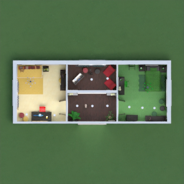 One bedroom has various colors of yellow with red while the other one has various shade of greens.  Each room has a desk for study along with a vanity. There is a room for relaxing that also has musical instruments for the girls entertainment.