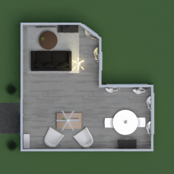 Hello everybody! This is My Black White and Wood Living & Dinning Room! In here there is a shoe rack for your shoes a table with 2 chairs to sit and talk. There is a dinning room table to eat  and to play cards and a shelf for plates and decor. There is a living room, it has a sofa to talk or to watch T.V. In the living room area there is a warm fireplace to warm your feet, and to warm the house. I REALLY WANT TO GET 1ST PLACE OR TO THE TOP 5! I tried SO hard this time, I spent about, 2 HOURS on this. So please vote me and comment below so I can vote you back! I hope you stay safe and have a happy holiday coming up! Thanks! Wild Doggy! by Wild Doggy image