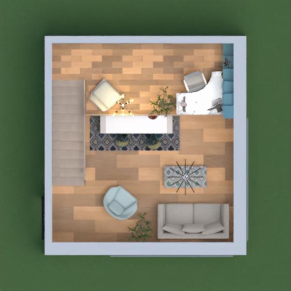 Nowoczesne biuro domowe. Na parterze znajduje się salon, jadalnia i aneks kuchenny. Natomiast wyżej można w spokoju popracować przy wygodnym biurku, a potem można się zrelaksować z książką w ręku, na równie wygodnym fotelu. Wszystko jest w stylu nowoczesnym i trochę western. Do tego stylu nawiązują błękitne dywaniki w nowoczesny wzór. Całość wnętrza w trzech kolorach. Dominuje tu biel i niebieski, a kolor czarny dodaje szyku.