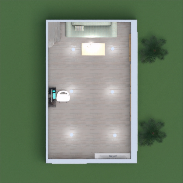 A light and positive room with a dark wood floor and some lighter wood hints. It also has some plants outside