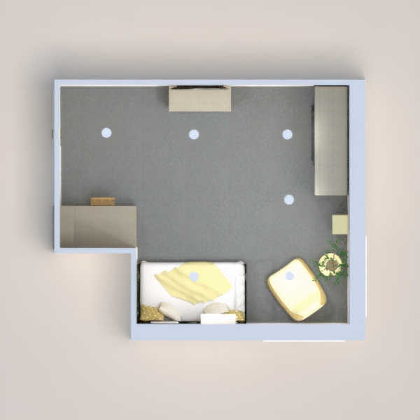 yellow and gray themed children's bedroom