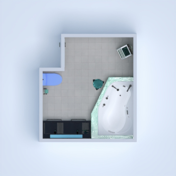 A nice little blue bathroom. By:Estill King