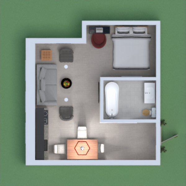 This is a small apartment flat, with the necessary stuff like a dining table with three chairs, a kitchen, a bathroom, a desk for working, a living room with a sofa and television, and a bedroom