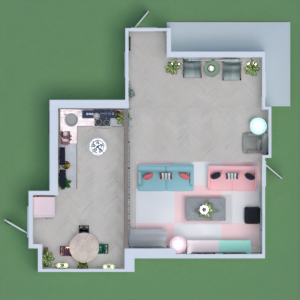 a bright living space along with a kitchen and an entry softly colored. tell me what u think . and don't forget to vote if it appealed to you ;)