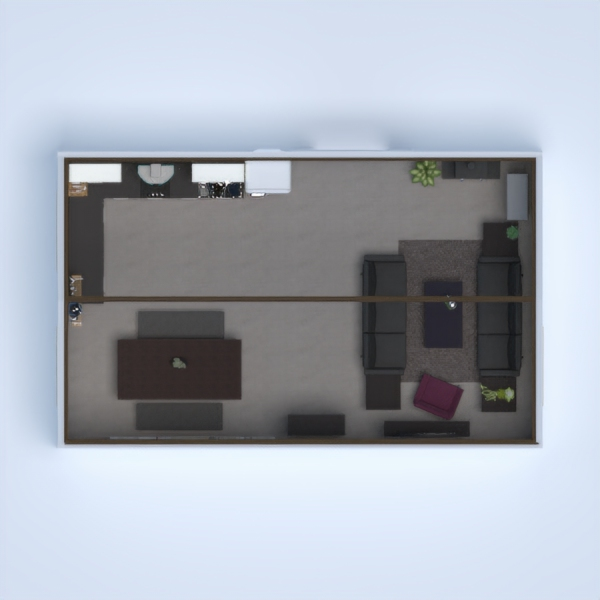this is a comfy living room with kitchen