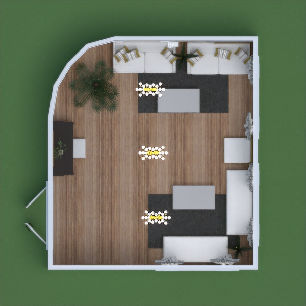 A modern living room with a piano near the door, comfortable couches, plants for fresh air, a mirror for extra light, and nice decorations.