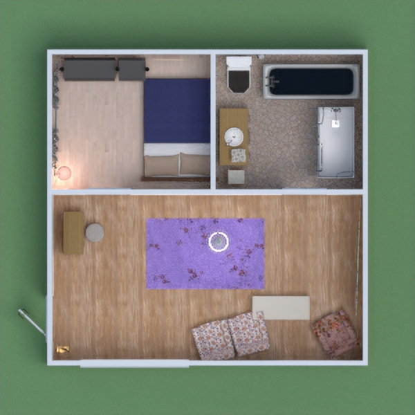 It's a small cottage with a bathroom living room and a bedroom ,it dose not have any kitchen for there was not any and it is perfect for a travel house for renting