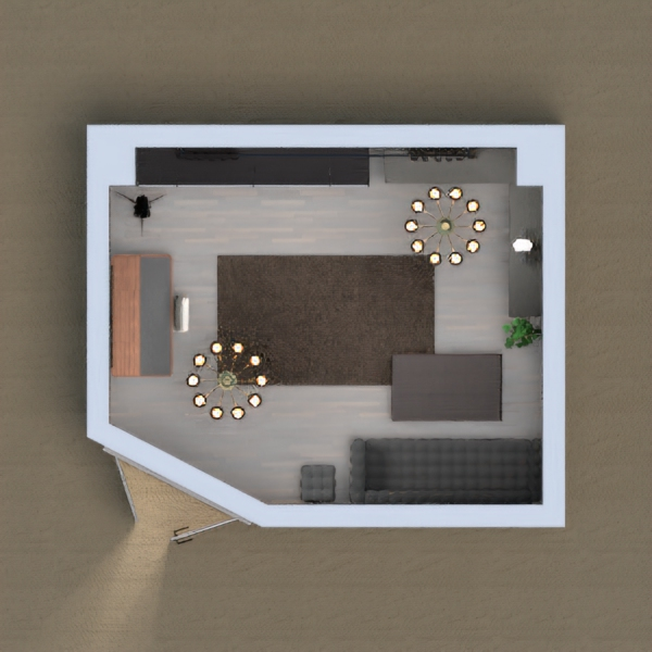 a living space, black/gray, storage space, 1 couch, 0 armchairs, 1 desk with stool. hope you like it :)